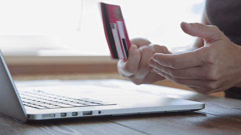 Paying with a credit card online, shopping Footage