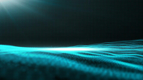 Digital wave particles flow abstract cyber space environment background Animation