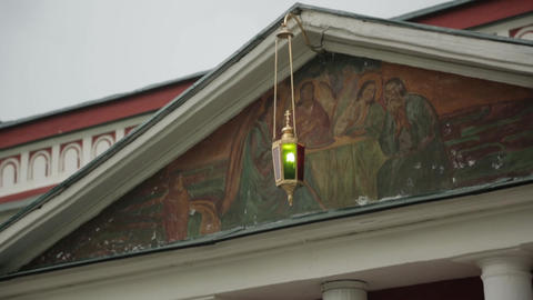 Lamp under the roof of the church Footage