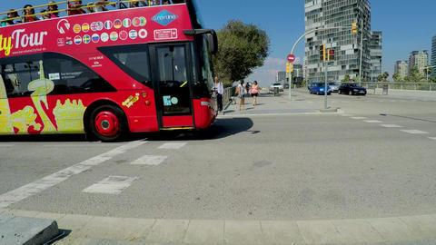 Tourist Bus On Concrete Road Footage