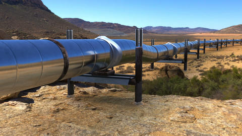 Oil pipeline in desert 애니메이션