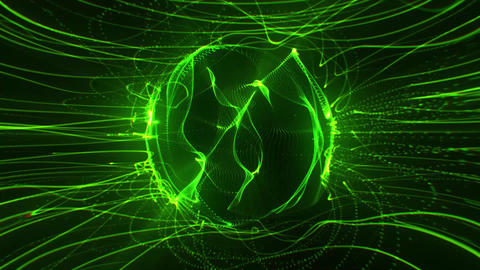 Green Energy Flow in a Rotating Vortex Abstract Loopable Background Animation
