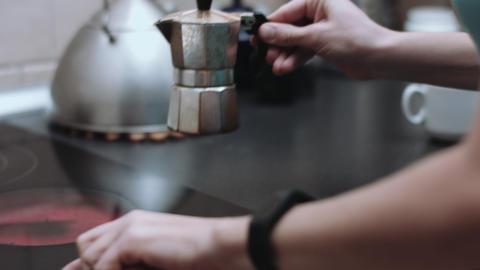 Woman prepares coffee Footage