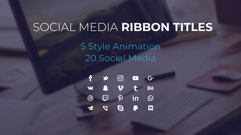 Social Media Ribbon Titles Motion Graphics Template
