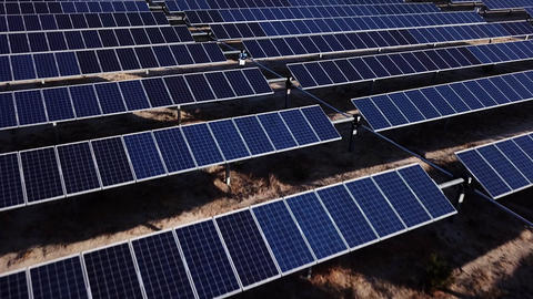 Aerial Shot Of Solar Panels Footage