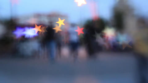Out of focus City vith Bokeh Light Live Action