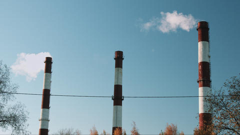 Stream Of Dark Smoke From The Chimney Of Factory In The Industrial District 0
