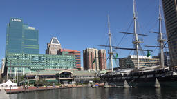 USA Maryland Baltimore Inner Harbor cityscape and old windjammer Image