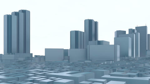 Abstract modern 3D city Tokyo skyscrapers Animation