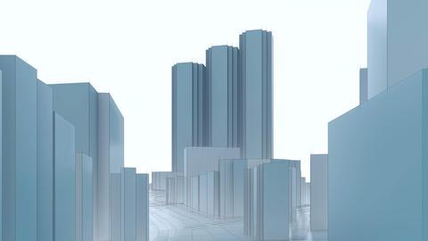 Shinjuku Tokyo abstract 3D city skyscrapers 애니메이션