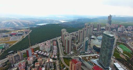 Aerial shot of deforestation. Aerial view of urbanization around Ankara city Footage
