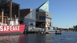 USA Maryland Baltimore museum ship and National Aquarium at Inner Harbor Archivo