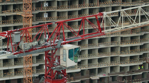 High Tower cranes at the construction site Footage