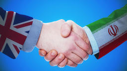 United Kingdom - Iran / Handshake concept animation about countries and politics Animation