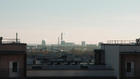 Stream Of Dark Smoke From The Chimney Of Factory In The Industrial District 2