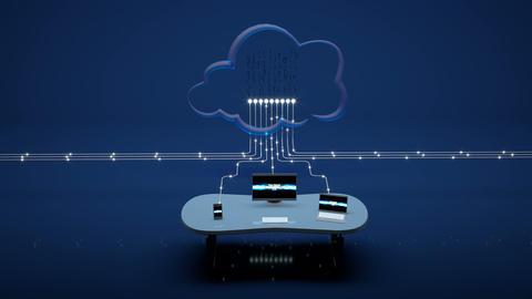 Desktop Computer, Laptop and Smartphone Sending Data to Cloud Animation