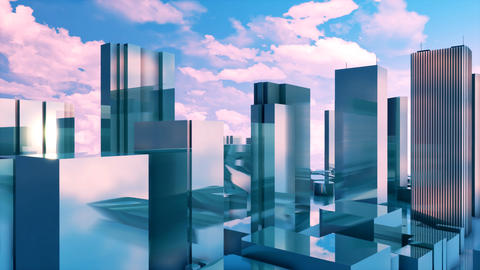 Abstract 3D high rise buildings reflection mirror facades Animation