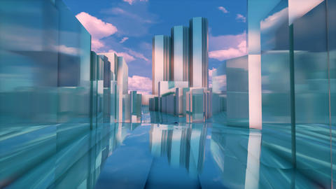 Abstract 3D Tokyo city mirror buildings street level Animation