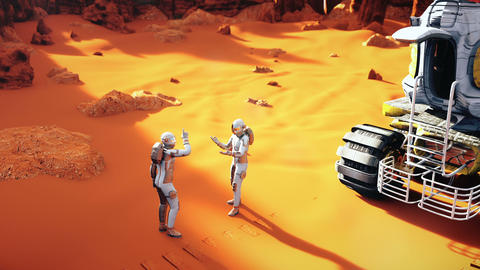 Astronauts on a Mars arguing after the planet exploration. A futuristic concept Animation