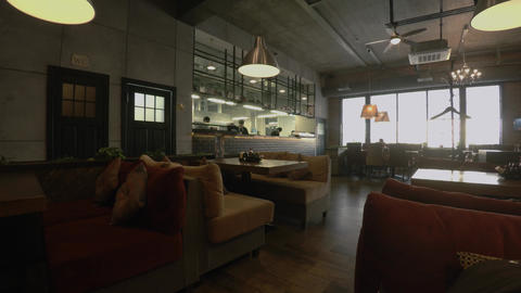 The Cozy Restaurant, Coffee Shop. 4K stock footage