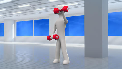 3d man exercising with dumbbells in the gym Animation