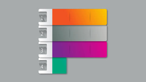 Horizontal sequence colorful option bars for presentations After Effects Template