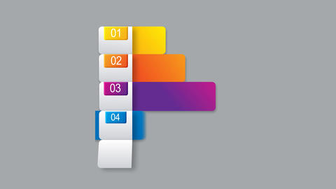 Horizontal sequence colorful bars for presentations or options infographics After Effects Template