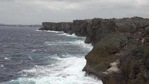 (4K)rough sea Zanpa Cape 2 / 残波岬と濁流 沖縄 4K動画素材 Footage