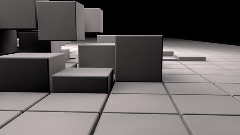 White realistic 3d cubes jumping while camera follows them Animation