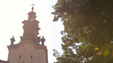 views of the church on a sunny day, Lviv, cathedral church Live Action