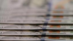 American hundred dollar bills.close up dolly shot of American paper money bills. Live Action
