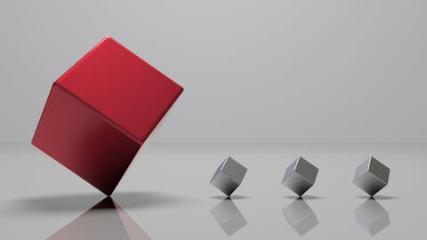 4k,3d rotating red metal cube and three small metal cube,seamless loop Live Action