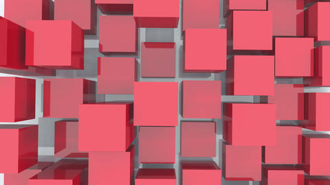 4k,abstract 3d red cubes animation background Live Action