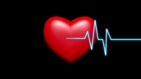 4k Heart beat cardiogram with red heart background,heart monitor EKG Live Action