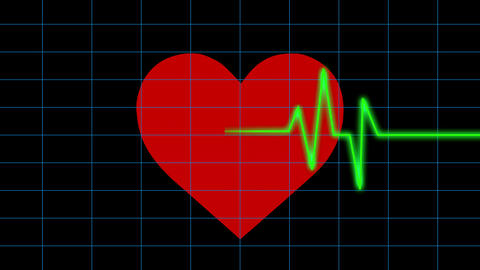 4k Heart beat cardiogram with red heart background,heart monitor EKG Footage