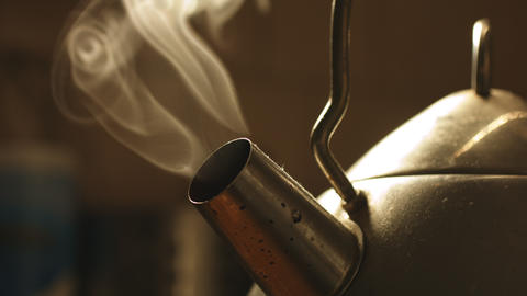 Shot of steaming kettle Footage