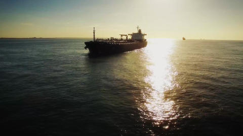 Aerial shot of container ship in ocean Footage