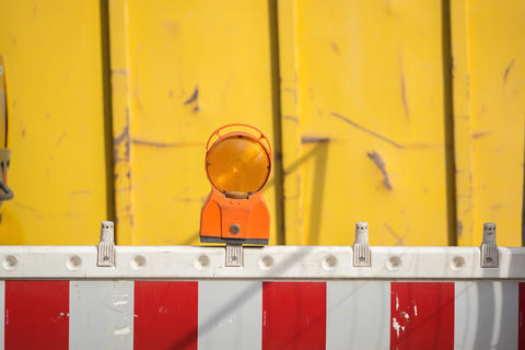 A barrier with reflector at a construction site Photo