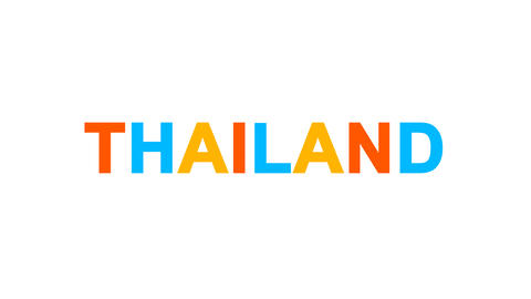 country name THAILAND from letters of different colors appears behind small Animation
