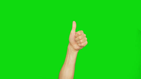 Mans hand show thumbs up gesture. Male hand rise up and do thumbs up. Alpha Live Action