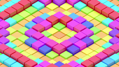 Colorful abstract seamlessly waving field of cubes 스톡 비디오 클립, 영상 소스, 스톡 4K 영상