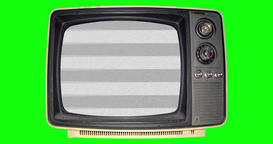White noise static on a dusty old TV with green screen background in 4k Image