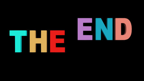Multicolored The end inscription on black background. Letters falling from top, 애니메이션