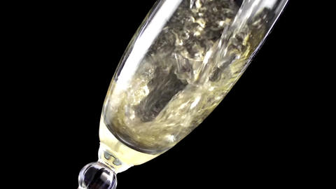 Champagne pouring into glass in slow motion ,200 fps Footage