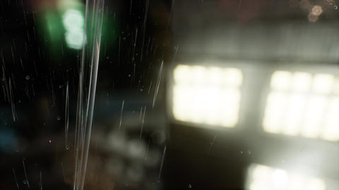 urban scene at rainy night with bokeh lights Live Action