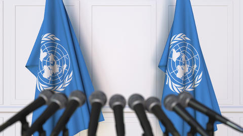 The United Nations official press conference. Flags of the UN and microphones Footage