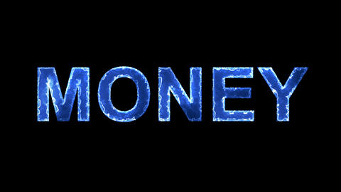 Blue lights form luminous text MONEY. Appear, then disappear. Electric style Animation