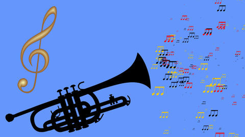 Tube and golden violin key. Colorful moving musical notes. Animation of a Animation