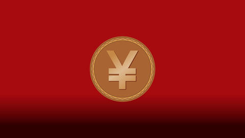 Japanese currency yen smybole presented on gold goin, animation with zoom, Image