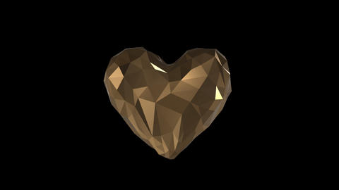 Low Poly Heart Animation with alpha channel Animation